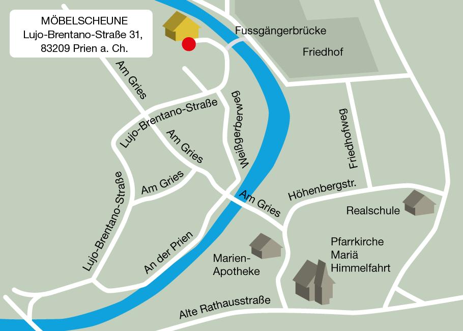 Anfahrtskarte zur Möbelscheune Matthias Deichsel